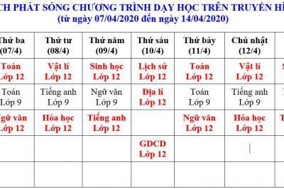 LỊCH PHÁT SÓNG CHƯƠNG TRÌNH DẠY HỌC TRÊN TRUYỀN HÌNH (từ ngày 07/04/2020 đến ngày 14/04/2020)